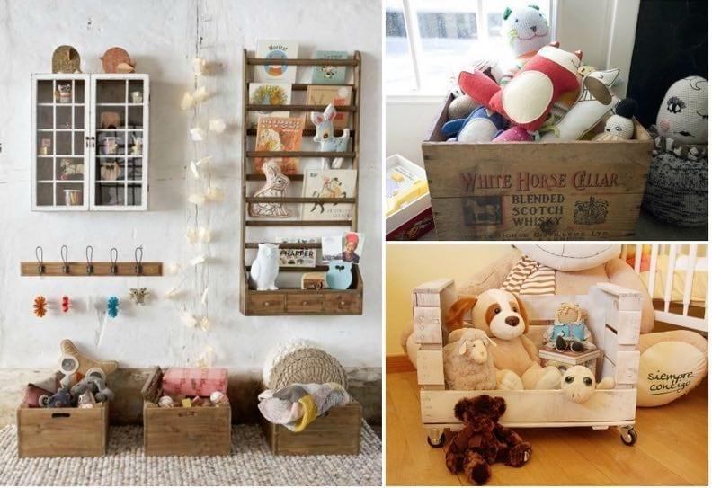 Diy decoraci n y muebles con cajas de fruta de madera - Cajas para almacenar juguetes ...