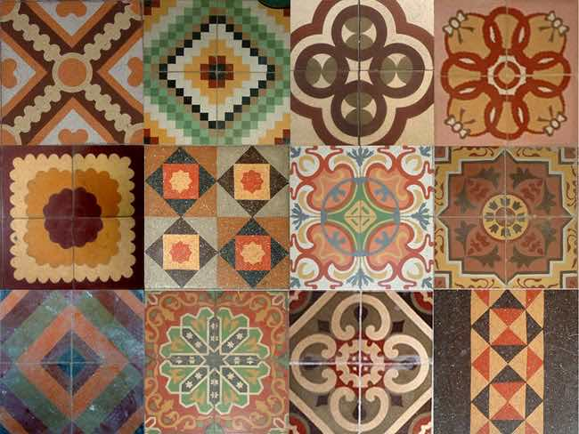 Carpets that imitate antique tiles