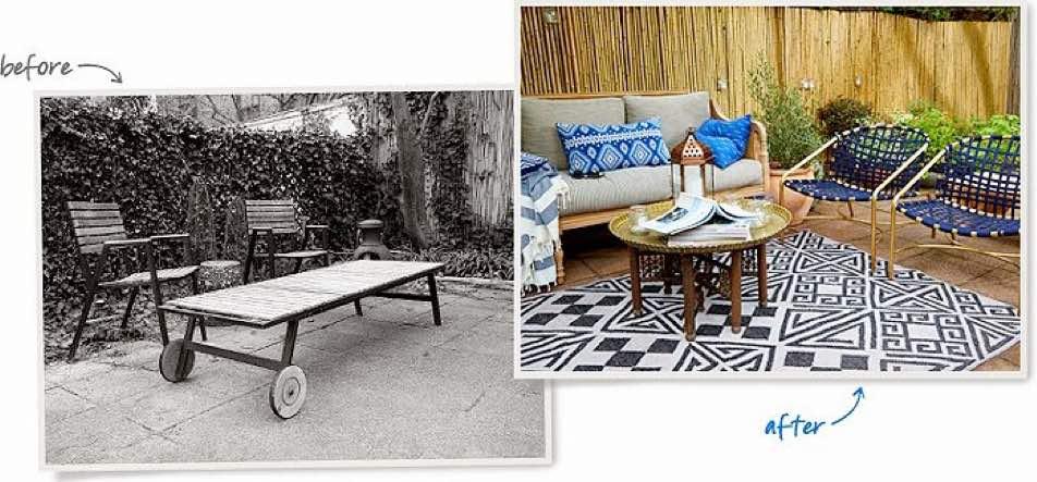 antes y despues terraza ecléctica