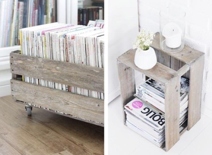 Fruit boxes as magazine rack