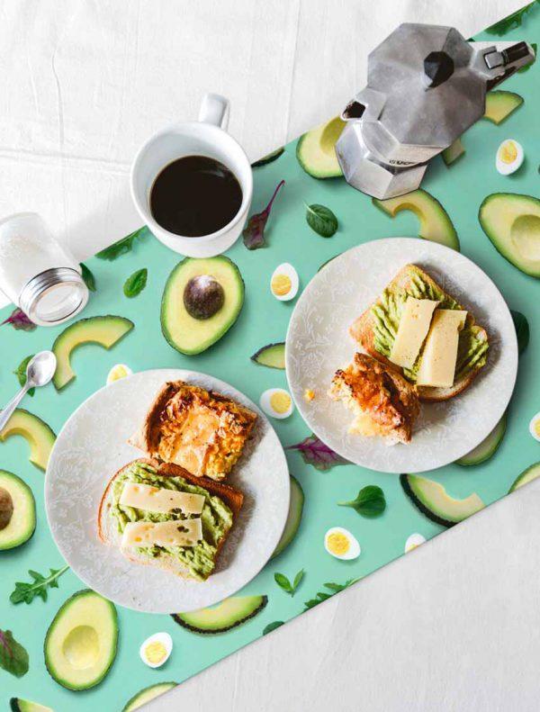 camino de mesa hidraulik vinilo avocado vegan